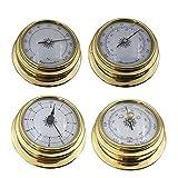 KONGTO 4 Pulgadas 4 PCS/Set Termómetro Higrómetro Barómetro Relojes Reloj Zirconio Marino para estación meteorológica