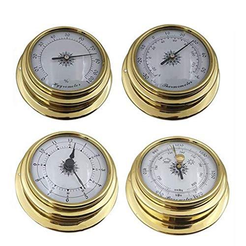 Catyrre - Set da 4 pezzi/termometro, igrometro, barometro, orologio, in rame, con zirconi, per stazione meteo