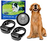 GPS Wireless Electric Dog Fence System,Anti Barking Dog Collar Pet Containment System,Waterproof&Rechargeable Collar Training Shock&Tone Correction Distance Adjustment Max 1000FT (2 Dog)