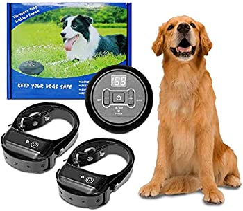 Wireless Electric Dog Fence System,Anti Barking Dog Collar Pet Containment System,Waterproof&Rechargeable Collar Training Shock&Tone Correction Distance Adjustment Max 1000FT  2 Dog