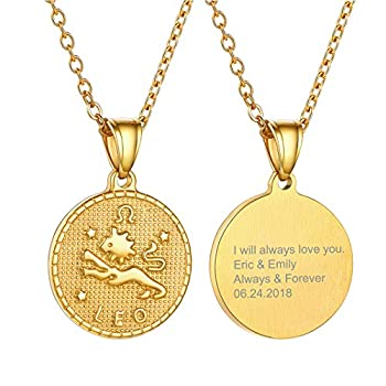 GOLDCHIC JEWELRY Personalized Zodiac Medallion Pendant Necklace Gold Lucky Jewelry for Women and Girls with Gift Box - Leo