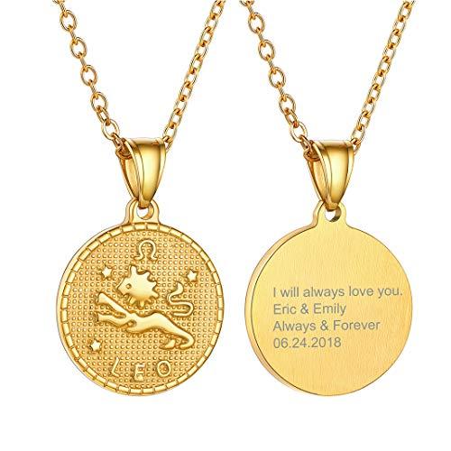 Medalla ovalada dorada de Leo
