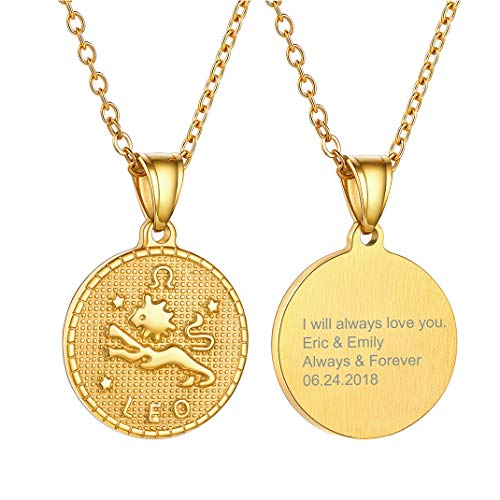 Engraving Leo Coin Pendant Necklace, 12 Zodiac Sign Constellation Jewellery For Girl