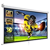 ZENY 100 Inch Projector Screen 16:9 HD Portable Projection Screen Pull Down Foldaway Movies Screen Home Theater Projector Screen Outdoor Movie Screen