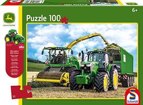 Schmidt Spiele- John Deere Traktor 6195M y Feldhäcksler 8500i-Puzzle Infantil (100 Piezas), Color carbón (56315)