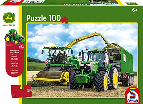 Schmidt Spiele Puzzle 56315 John Deere 6195M und Feldhäcksler 8500i, 100 Teile Kinderpuzzle mit Siku Traktor, bunt