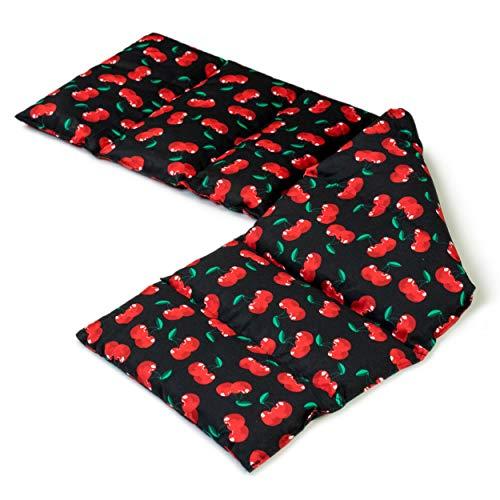 Cuscino con noccioli di ciliegia, 75x20cm. Cuscino termico con 8 compartimenti, per la schiena, il ventre e molto altro. Terapia caldo e freddo (cherry-black)