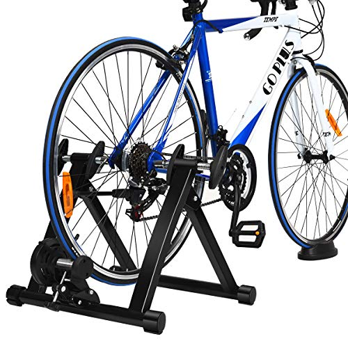 Goplus Bike Trainer Stand, Indoor Steel Exercise Bicycle Trainers with Fluid Flywheel, Quick Release & Double Locking System, Magnetic Bicycle Stationary Stand for 26'' - 28'' Wheels