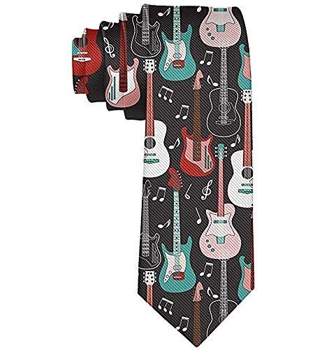 Corbata de hombre Guitarras de rock and roll Corbata de seda de poliéster para hombre Corbatas