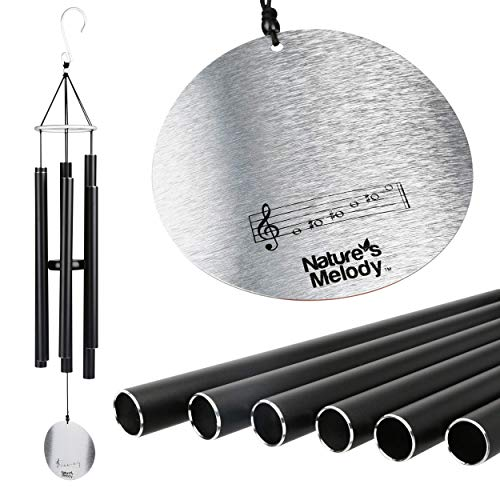 Nature Melody Aureole Tunes Wind Chimes – Outdoor Windchime with 6 Tubes Tuned to E Pentatonic Scale 100% Rustproof Aluminum Powder Finish amp S Hook Hanger for Sympathy Memorial Gift or Zen Garden