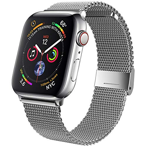 jwacct Bands Compatible for Apple Watch 42mm 44mm, Adjustable Magnetic Stainless Steel Bracelet Mesh Strap Sport Loop for Women/Men iWatch Series 6/5/4/3/2/1 and SE, Silver