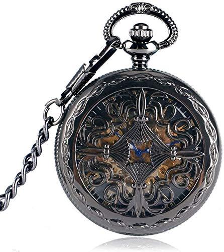 Taschen- und Armbanduhr Taschenuhr Trendy Gothic Gitter-Blumen-Kasten Steampunk Skeleton automatische mechanische Geschenk-Taschen-Uhr-Kette (Color : Black)