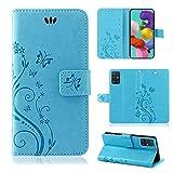 betterfon | Samsung Galaxy A51 Hülle Handy Tasche Handyhülle Etui Wallet Hülle Schutzhülle mit Magnetverschluss/Kartenfächer für Samsung Galaxy A51 SM-A515 Blume Blau