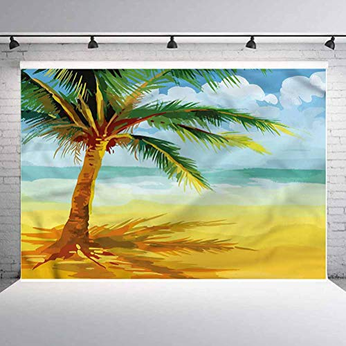 8x8FT Vinyl Wall Photography Backdrop,Tropical,Coconut Palm Tree Branch Background for Party Home Decor Outdoorsy Theme Shoot Props