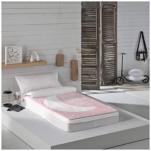 COTTON ARTean Saco nordico SIN Relleno Moon Pink Cama 90 x 190/200. Saco Unido a la Bajera con Cremallera.