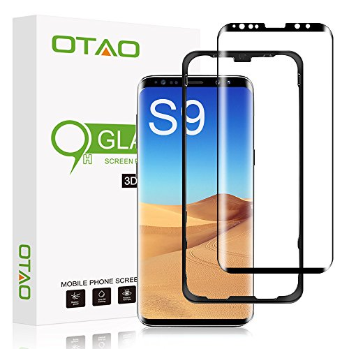 """Galaxy S9 Screen Protector Tempered Glass, [Update Version] OTAO 3D Curved Dot Matrix [Full Screen Coverage] Glass Screen Protector(5.8"""") with Installation Tray [Case Friendly] for Samsung Galaxy S9"""