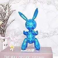 TEAYASON 樹脂の動物の芸術の彫刻、ジェフクーンズのウサギの彫像、創造的なバルーンバニーの置物、面白い子供たちの誕生日の子供たちのモダンな抽象的な家の装飾の装飾品、シルバーグレー、小さい,青,大