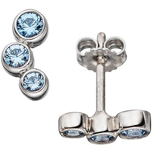 JOBO Ohrstecker 925 Sterling Silber rhodiniert 6 blaue Spinelle Ohrringe hellblau