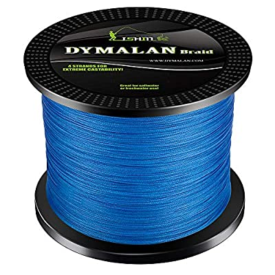 DYMALAN Braided Fishing line 4 Strands 6lb-80lb PE Super Line - Abrasion Resistance Fishing Line - Zero Stretch - Thinner Diameter for Saltwater & Fresh Water from DYMALAN
