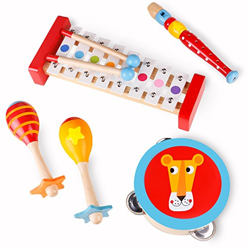 USA Toyz Musical Instruments for Toddlers - Wooden Music Toys Xylophone, Tambourine, Maracas and Recorder Learning Toys for Kids (5pc)
