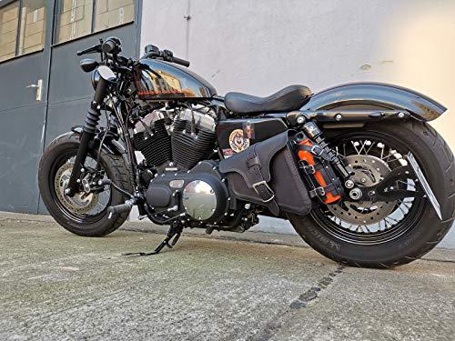 Road Black Seitentasche von ORLETANOS kompatibel mit Harley Davidson Sportster Satteltasche Schwingentasche Sporty 48 1200 883 Iron Schwinge Links Seite Linke schwarz Flaschenhalter Leder
