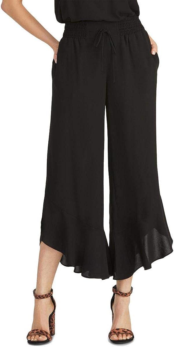 Rachel Roy Womens Black Wide Leg Wear to Work Pants Size XS