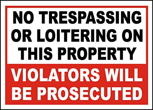 Vinyl Stickers - Bundle - Safety and Warning Signs Stickers - No Trespassing or Loitering Sign - 10 Pack (3.5
