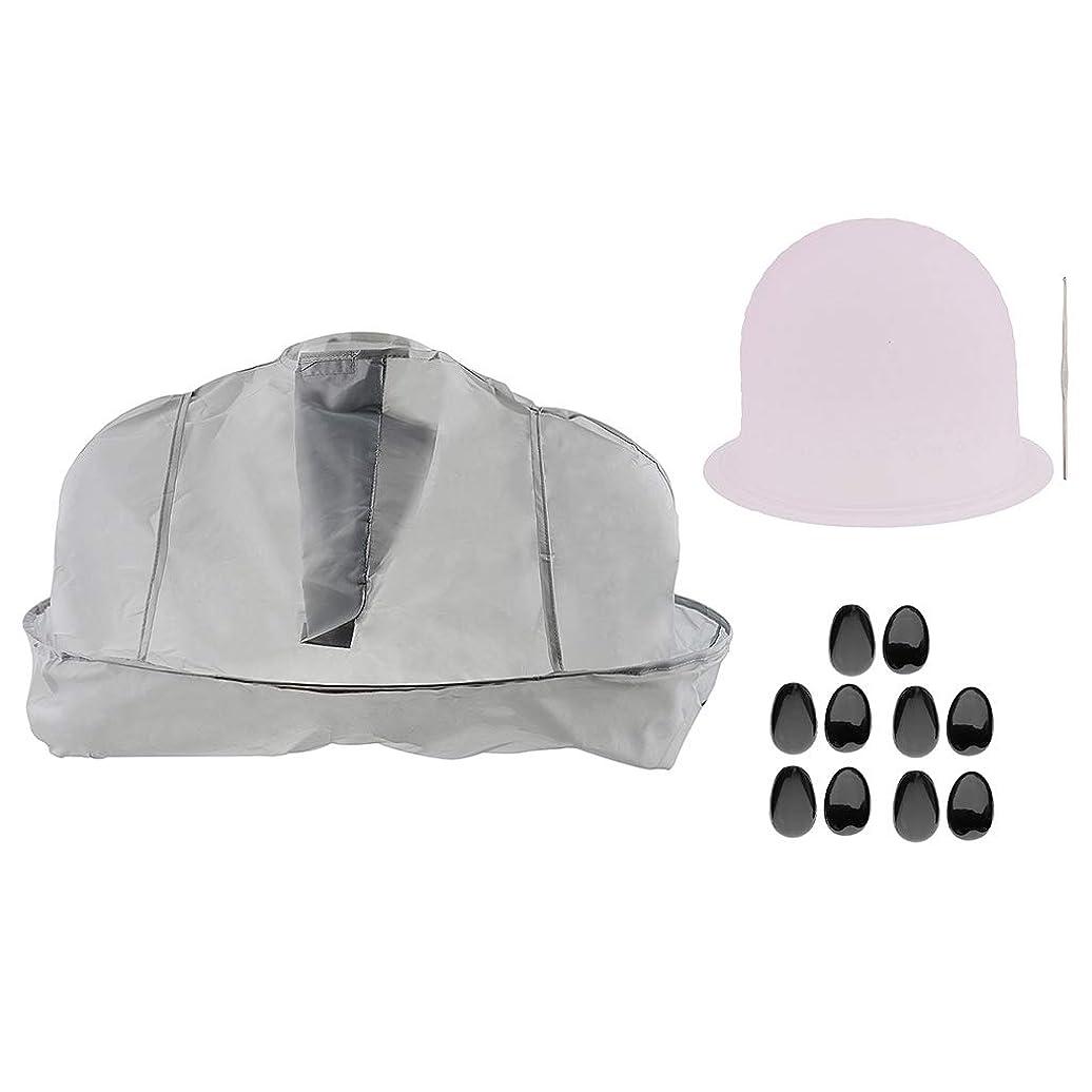 強打家禽味P Prettyia ヘアサロン ツールセット ヘアカラー 美容ケープ 帽子 キャップ 耳のカバー
