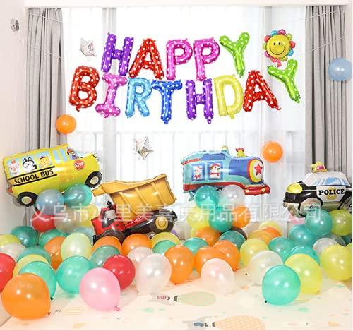 Decoraciones para Fiestas de Construcción,Cumpleaños Decoraciones Transporte Tema entrenar,coche de policía,autobús escolar,Vehículos de ingeniería para Niño Cumpleaños Baby Shower