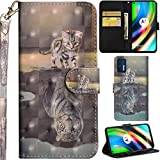 C/N DodoBuy Hülle für Motorola Moto G9 Plus, 3D Flip PU Leder Schutzhülle Handy Tasche Wallet Hülle Cover Ständer mit Trageschlaufe Magnetverschluss - Katze Tiger