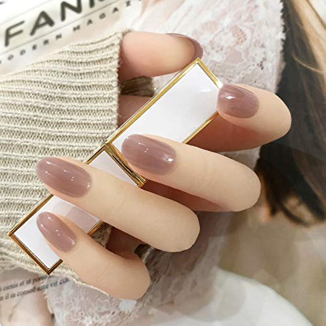 防衛滞在コンパクト24枚純色付け爪 ネイル貼るだけネイルチップ お花嫁付け爪 (グレーピンク)
