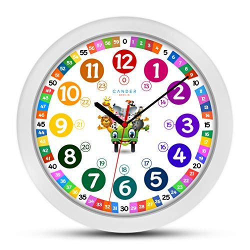 ONETIME Orologio da Parete per Bambini (Ø) 30,5cm Orologio da Parete per Bambini con Orologio e silenziosa farbenfrohem Design con Animali–Imparare A Leggere l' Ora
