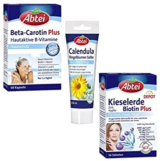 3er Pack Abtei Beta Carotin Plus, Calendula Ringelblumen Salbe, Kieselerde Biotin Plus