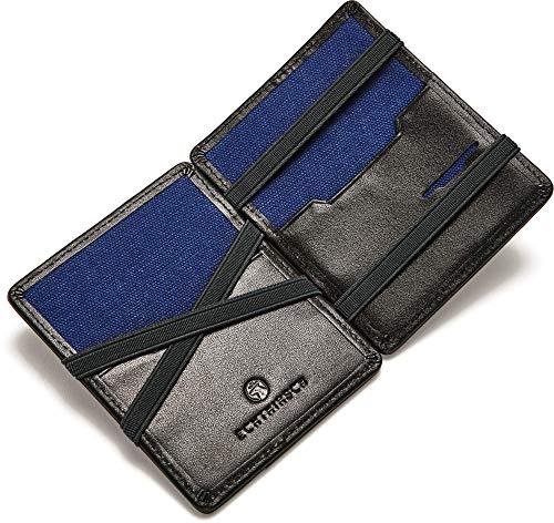 ECHTHIRSCH Geldbeutel Geld-Börse Portemonee Karten-Etui Kredit-Karten Money-Clip RFID-Schutz Slim Canvas Leder-Hülle - Entertainer-Black Navy-Black