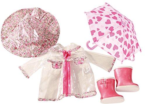 Götz 3402190 Kombination Rainy Day - Aprilwetter Puppenbekleidung Gr. XL - 5-teiliges Bekleidungs- und Zubehörset für Stehpuppen von 45 - 50 cm