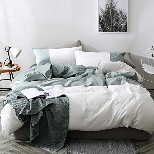 mixinni Modern Duvet Cover Set King Soft Cotton Green Geometric Patchwork White Bedding Set with Zipper Ties Comforter Cover Set-Hypoallergenic,Easy Care, Soft and Durable-King Size