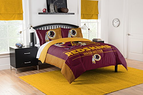 Officially Licensed NFL Washington Redskins'Draft' Full/Queen Comforter and 2 Sham Set, 86' x 86'