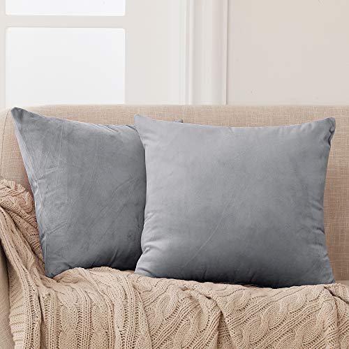 Deconovo Pack of 2 Large Crushed Velvet Cushion Covers 65cm x 65cm 26x26 Inches Throw Pillow Cases Plain Cushion Protectors for Living Rooms with Invisible Zipper Grey