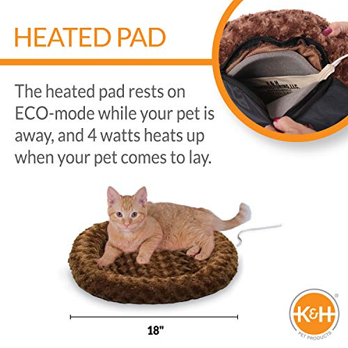 K&H PET PRODUCTS Thermo-Kitty Fashion Splash Mocha Small 18 Inches Round