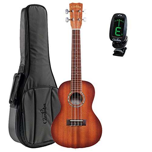 Cordoba 15CM-E Edge Burst Acoustic-Electric Concert Ukulele With Deluxe Gig Bag and Tuner
