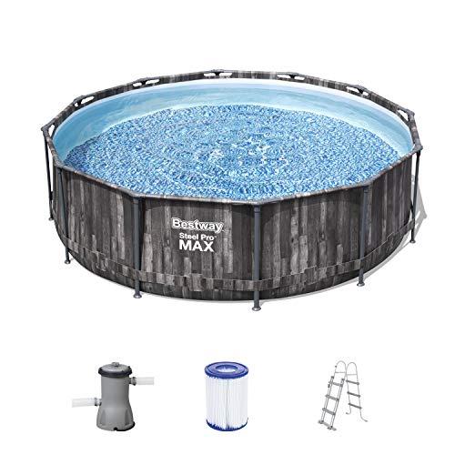 Steel Pro Max Frame Pool Komplett-Set, rund, mit Filterpumpe & Sicherheitsleiter 366 x 100 cm