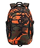 FNTSIC Camouflage Primary School Bags Children Backpacks Large Capacity Lightweight Shoulder Bags Ideal for Teenage Boys and Girls (Camo Orange)