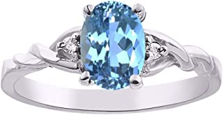 Ladies Ring with Oval Shape Gemstone & Genuine Sparkling Diamonds in Sterling Silver .925-7X5MM Color Stone