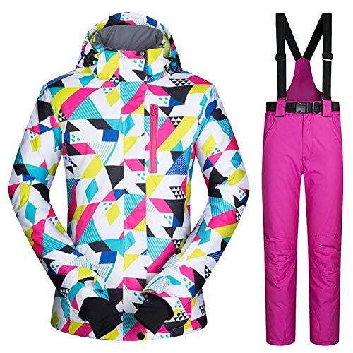 Damen-Skijacke und -hose, wasserdicht, bunt, bedruckt, winddicht, warm, Outdoor-Sport m (Farbe+Rose)