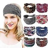 Bohend Boho Moda Venda Amplio Elástico Diario Sombreros Deporte Atlético Yoga Gimnasio playa Accesorios para el cabello para Mujeres y Grils (8 piezas)