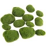 cestbon 12 pezzi moss palle sintetiche per acquario decorativo del muschio verde pietre simulazione erba bonsai paesaggio della decorazione fai da te,verde