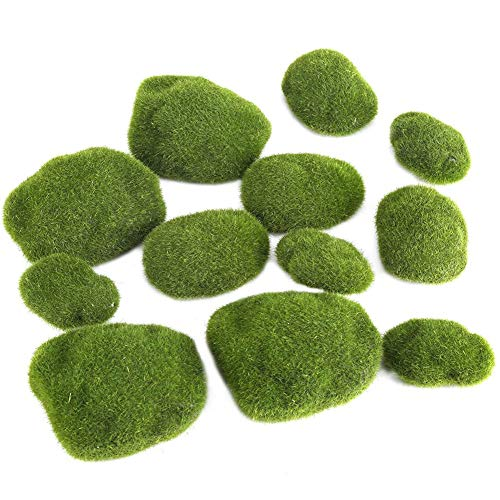 12 Pieces Moss Balls Aquarium decoratieve Artificial Green Moss Stones Simulatie Grass Bonsai DIY Landschap Decoratie,Green