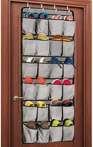 Unjumbly Over the Door Shoe Organizer, 24 Large Pocket Shoe Rack Over the Door Complete with 4 Strong Metal Over...