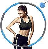 TTMOW Hula Hoop für Fitness,8 Abschnitte des abnehmbaren Hula Hoop können das Gewicht anpassen,Geeignet für Erwachsene und Kinder, mit Mini-Maßband (1.1kg) (Grau Blau)