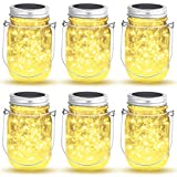 6 Stück Solarlampen für Außen,OxyLED 40 LED Lichterkette im Einmachglas Laterne, Solar Mason Jar Licht für Außen Garten Deko, IP44 Wasserdichte Hängeleuchte für Garten Party Hochzeit(Warmeweiß)